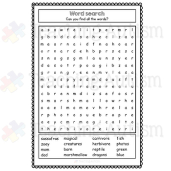 Zoey and Sassafras, Dragons and Marshmallows Word Search