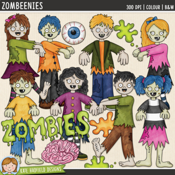 """Halloween Zombie Clip Art: """"Zombeenies"""""""