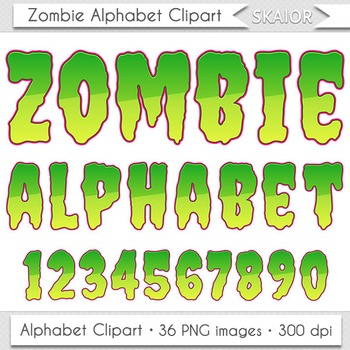 Halloween Alphabet Clipart Zombie Letters Numbers Green Digital Text Printable