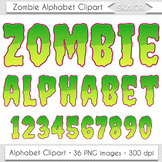 Halloween Alphabet Clipart Zombie Letters Numbers Green Di