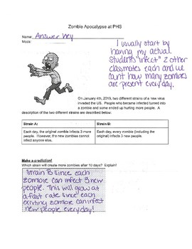 Zombie Apocalypse Answer Key by Algebra Fun | Teachers Pay Teachers