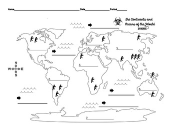 Zombie Apocalypse Ocean and Continent Identification