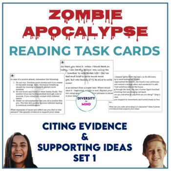 Zombie Apocalypse Reading Task Cards (Citing Evidence & Su
