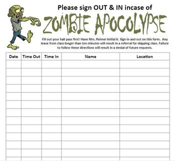 Zombie Apocalypse Sign Out Sheet