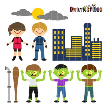 Zombie Apocalypse The Cute Edition Clip Art - Great for Art Class Projects!