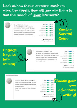 Zombie Apocalypse Writing Prompt Task Cards *Distance Learning*