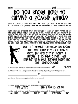Zombie Attack! A Great Sub Plan or Halloween Activity
