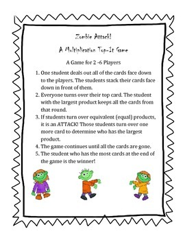 Zombie Attack! A Multiplication Top-It Game