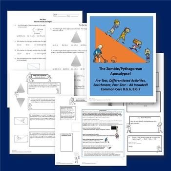 8th Grade Test Prep Pre Algebra Equations Pythagorean Theorem ZOMBIE Bundle