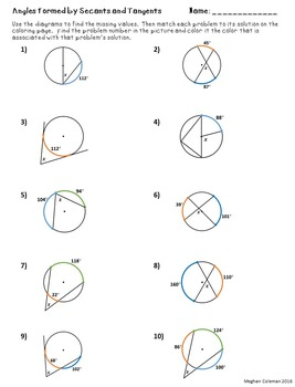 Zombie Color by Number:  Angles Formed by Secants and Tangents