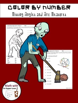 Zombie Color by Number:  Missing Angle and Arc Measures