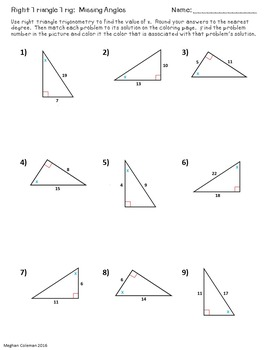 Zombie Color by Number:  Right Triangle Trig - Missing Angles
