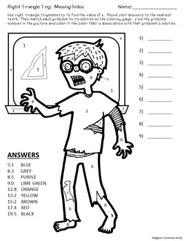 Zombie Color By Number Right Triangle Trig Missing Sides By Dr