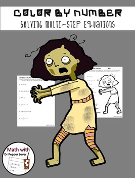 Zombie Color by Number:  Solving Multi-Step Equations
