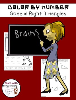 Zombie Color by Number:  Special Right Triangles (45-45-90 and 30-60-90)