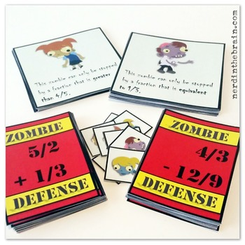 Zombie Defense: Adding, Subtracting, and Comparing Fractions (A Math Game)