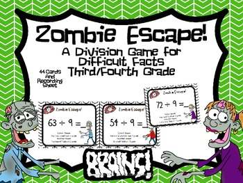 Zombie Escape! Division Game For Difficult Facts! Grades 3-5