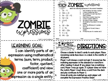 Zombie Expressions Review Game- Matching Word & Standard Form