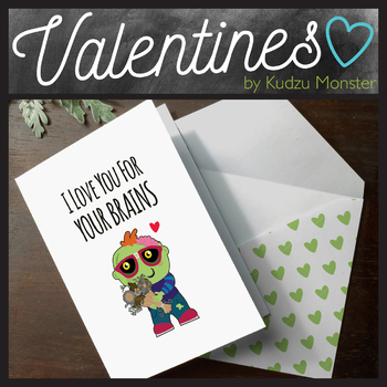 Zombie I Love You For Your Brains Valentine Card