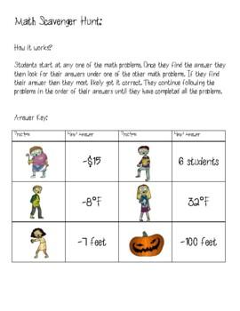 Halloween Zombie Integer Task Cards