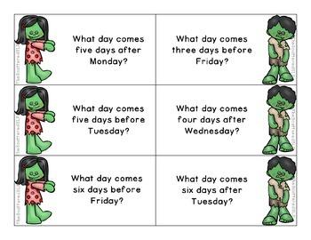 Zombie Kids Calendar Task Cards
