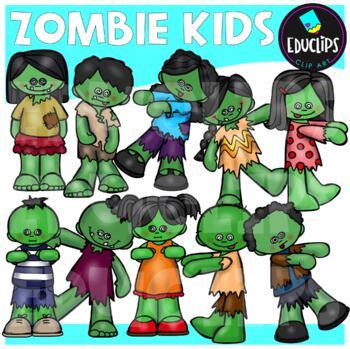 Zombie Kids Clip Art Bundle {Educlips Clipart}