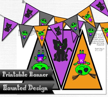 Zombie Kids and Cat Party Printable Banner Decoration Halloween PDF JPEG