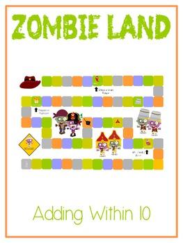 Zombie Land - Fun Math Folder Game - Adding to 10 - Common