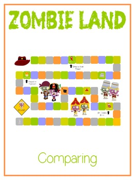 Zombie Land - Fun Math Folder Game Comparing 2 Digit Numbers Common Core Aligned