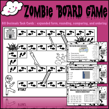 Math Board Game (Decimal Place Value Task Cards) w/ QR code answers