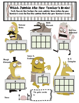 Zombie Math: Factors, Multiples, and Prime and Composite Numbers