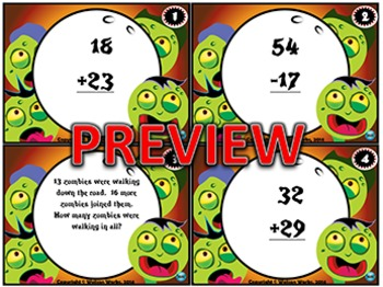 Zombie Math Task Cards: 2-Digit Addition & Subtraction with/without Regrouping