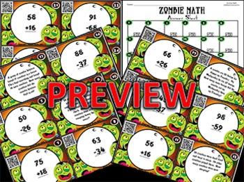 Zombie Math Task Cards~QR Code Version: 2-Digit Addition & Subtraction
