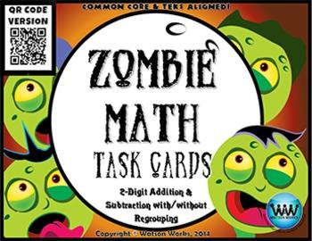 Zombie Math Task Cards~QR Code Version: 2-Digit Addition &