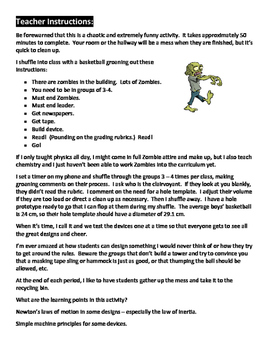 Zombie Physics Design Challenge - fits anywhere in the curriculum