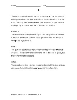 Zombie Plans Literacy Project