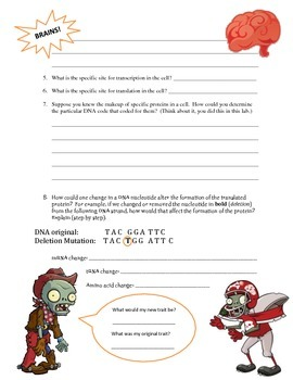 Zombie Protein Synthesis by Ashley\'s Interactive Biology Notebooks