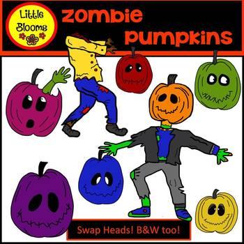 Zombie Pumpkins Clip Art (FREEBIE!)
