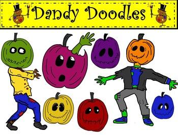 Zombie Pumpkins Clip Art by Dandy Doodles