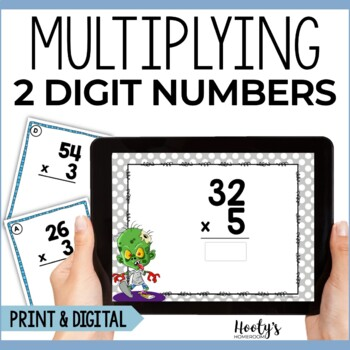 Multiplying 2 Digit Numbers by a 1 Digit Number Task Cards