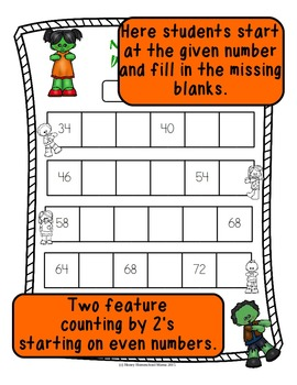 Zombie Skip Counting - Count by 2's Worksheets