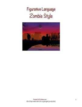 Zombie Themed Figuarative Language Worksheet, Halloween-Education