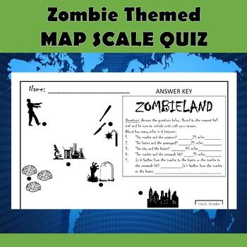 Map Scale Practice Quiz-Zombie Themed