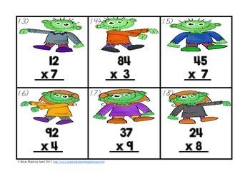 Zombie War Multiplication 2 Digit by 1 Digit