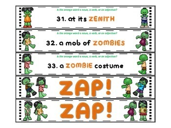 Zombie ZAP Nouns, Verbs, and Adjectives