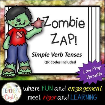 Zombie ZAP Simple Verb Tenses QR Codes Included