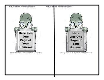 Zombie homework pass