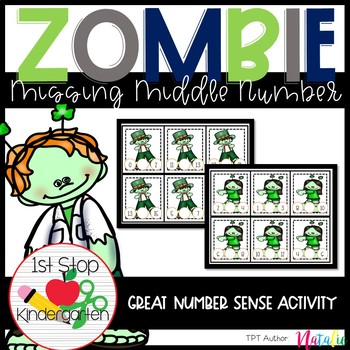 Zombie in the Middle: Math Center/Tub-Write the number in the middle