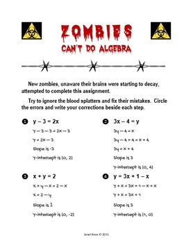 Zombies Can't Do Algebra, Activity 1: Rewrite Equations in Slope-Intercept Form