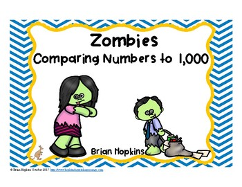 Zombies Comparing Numbers to 1,000 Task Cards